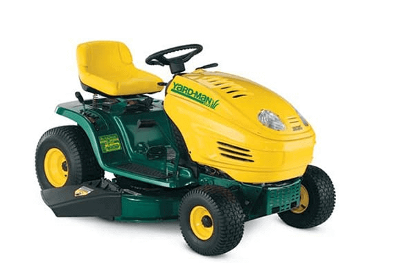 Yard man riding lawn mower